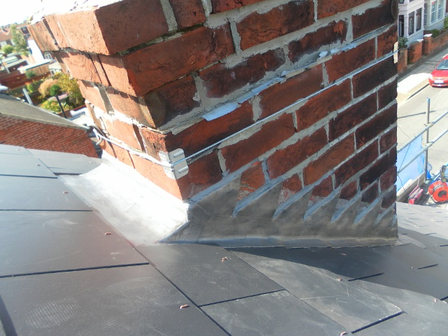 Chimney - lead flashing, man made slate